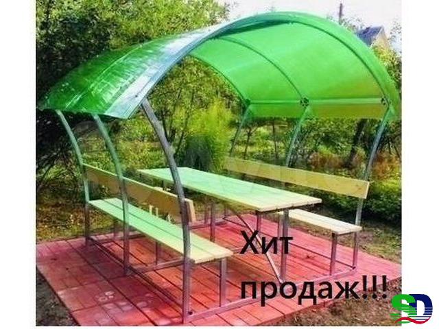 Новые садовые беседки со столиком и лавкой - 1