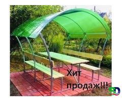 Новые садовые беседки со столиком и лавкой - Фотография 1